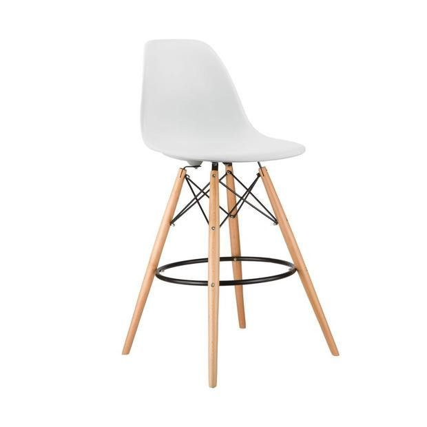 Eames Style Molded Plastic Dowel-Leg Bar Stool with Natural Legs