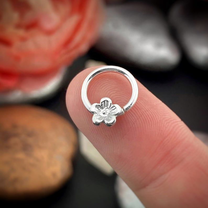 Cherry blossom daith ring helix hoop nose ring rook hoop