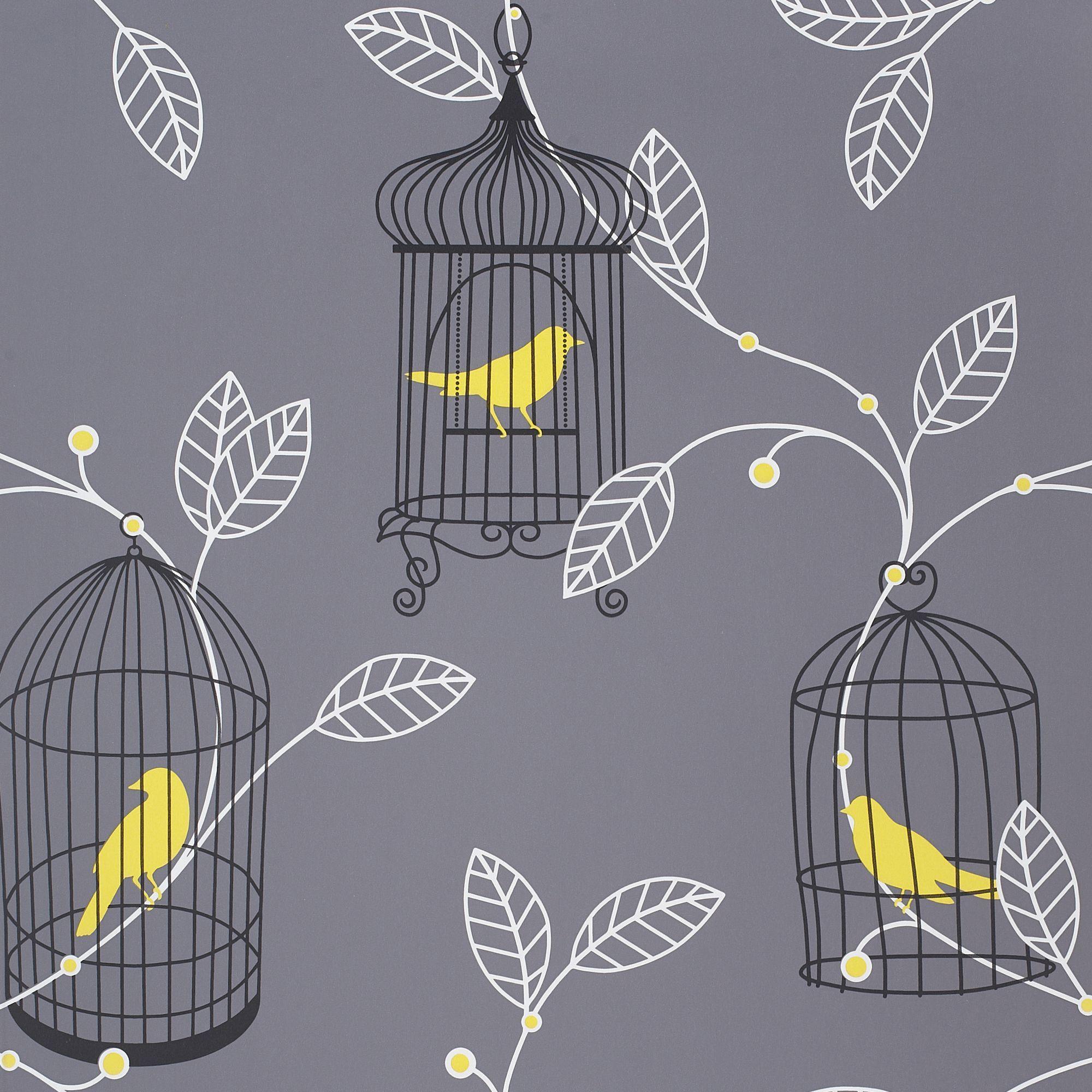 Plain Kitchen Wallpaper: Arthouse Opera Aviary Grey & Yellow Wallpaper