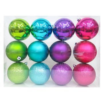 12ct 100mm Brights Shatterproof Christmas Ornament Set - Wondershop