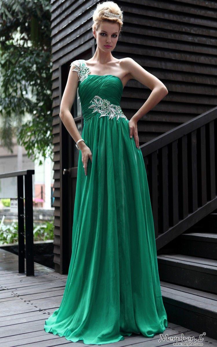 New One Shoulder Silk Green Gown Prom Long evening dress | Recital ...