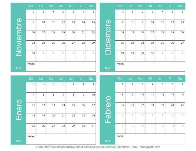 Dise a tu propio calendario para quedar embarazada planea tu embarazo de noviembre de 2014 a - Disena tu hogar ...