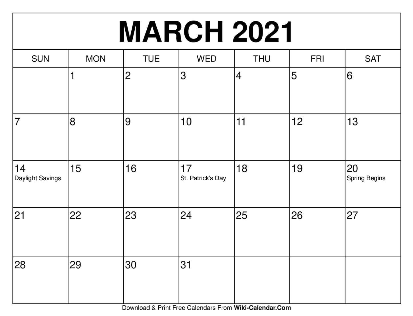 Free Printable March Calendars In With Images