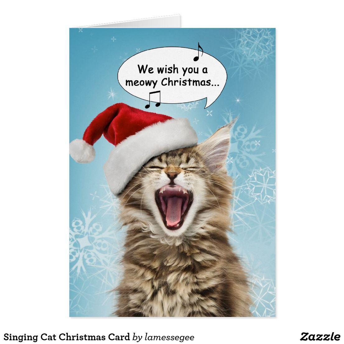 singing cat christmas card  zazzle  cat christmas
