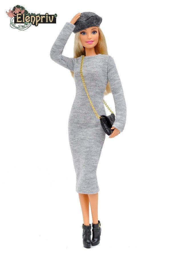 ELENPRIV FA outfit#2 gray jersey dress + gray beret + black leather bag full outfit for Barbie Pivotal, Made-to-Move dolls #barbie