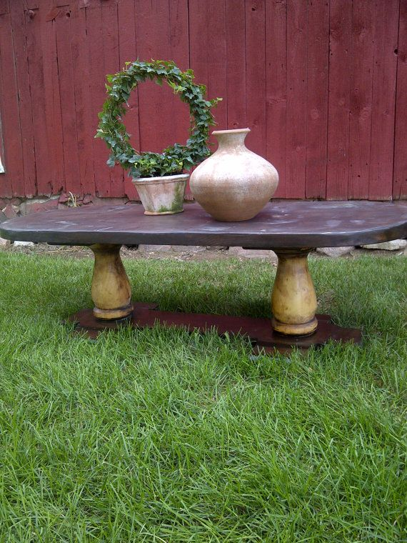 Oval Stressed Wood Coffee table by ForestHillGardens on Etsy, $195.00