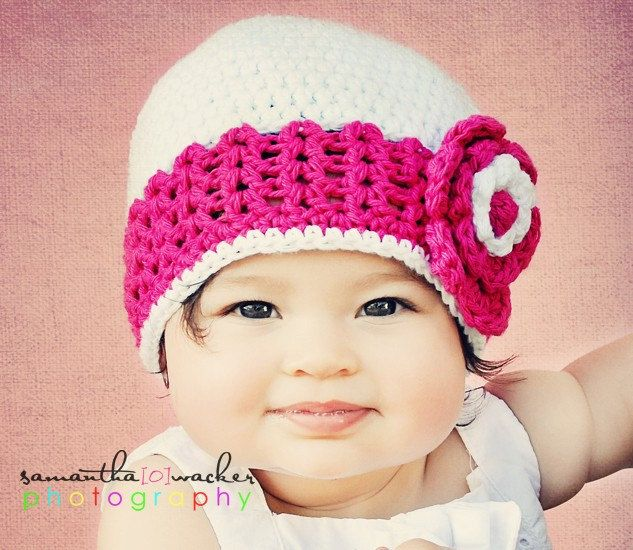 Crochet Patterns For Baby Girl Dresses : Crochet Hat PATTERN Baby Girl Crochet Hat V Stitch Flower ...