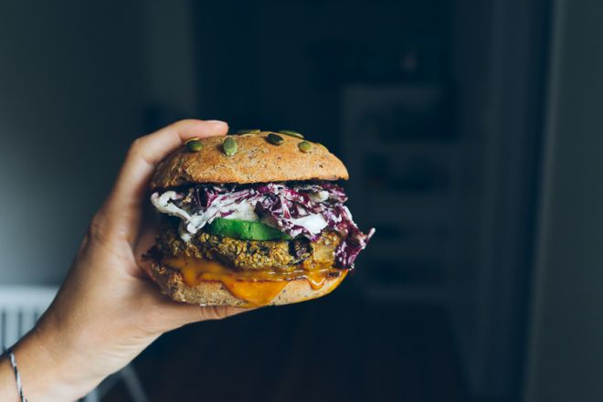 My Go-To Veggie Burger w/ a Sweet & Tangy Mustard Sauce + Radicchio Slaw | Faring Well | #vegan #recipes