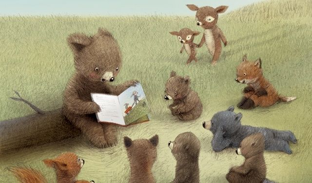 Bear reads to smaller bears :)