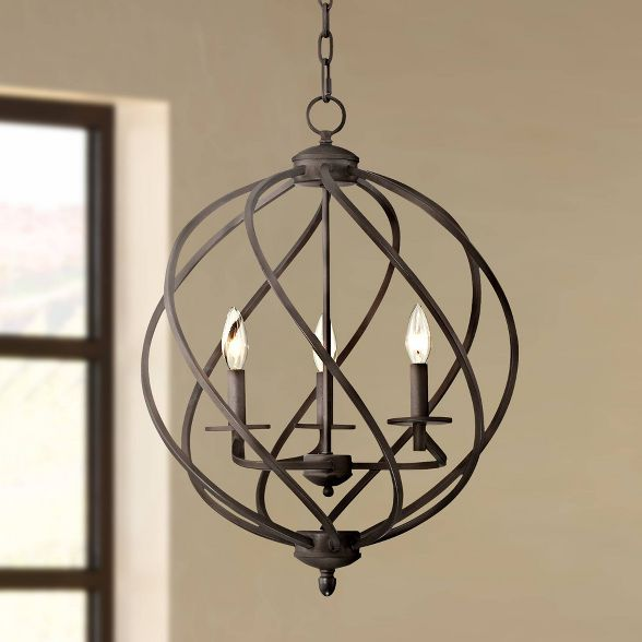 Franklin Iron Works Bronze Orb Foyer Pendant Chand