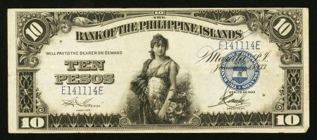 Philippines Bank Of The Philippines Islands 10 Pesos 1933 Pesos