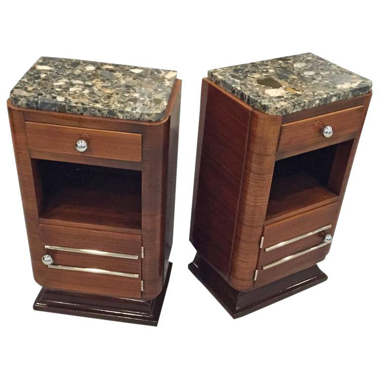Circa 1930s French Art Deco Night Tables with Marble Tops - A Pair