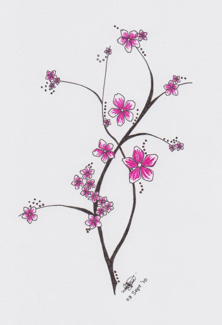 Japanese Flower Tattoo Design | Cherry Blossom Doodle by ...