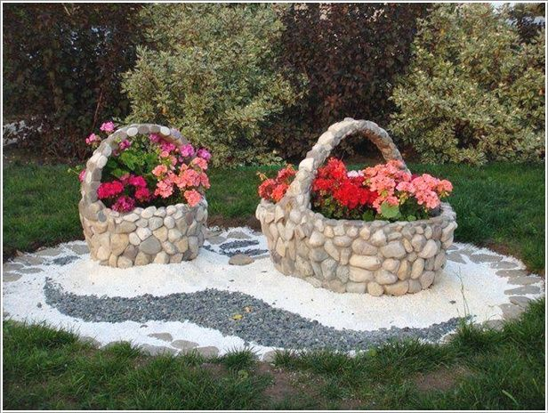 Garden Design Using Stones beauteous stone basket planters | awesome inventions | pinterest