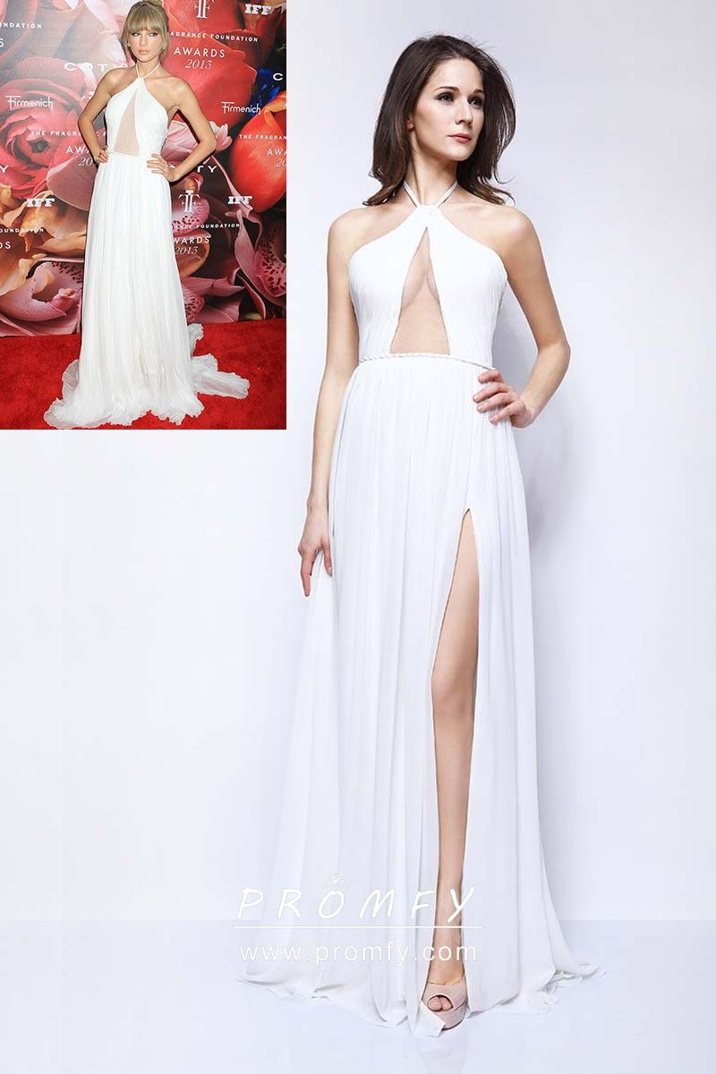 b3a477e4e59 Taylor Swift celebrity inspired sexy white chiffon cut out halter A-line  long prom dress with thigh-high slit. Open back. Halter strap.