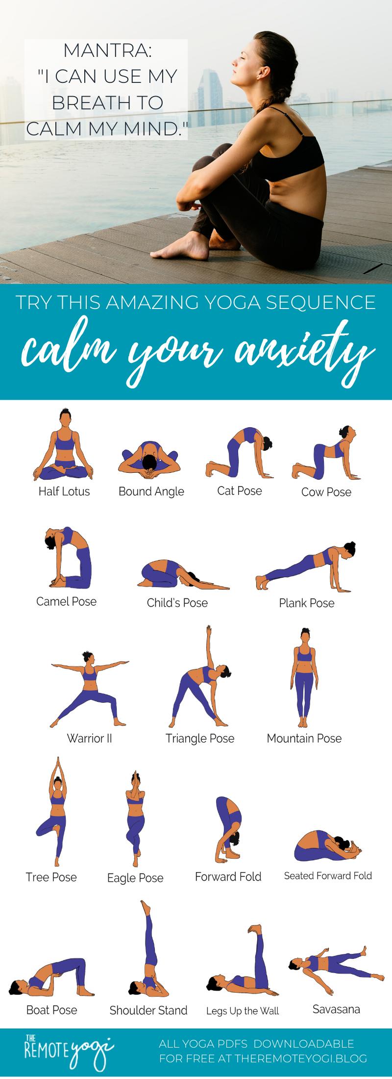 Yoga Poses for Anxiety – Free Yoga Printable PDF