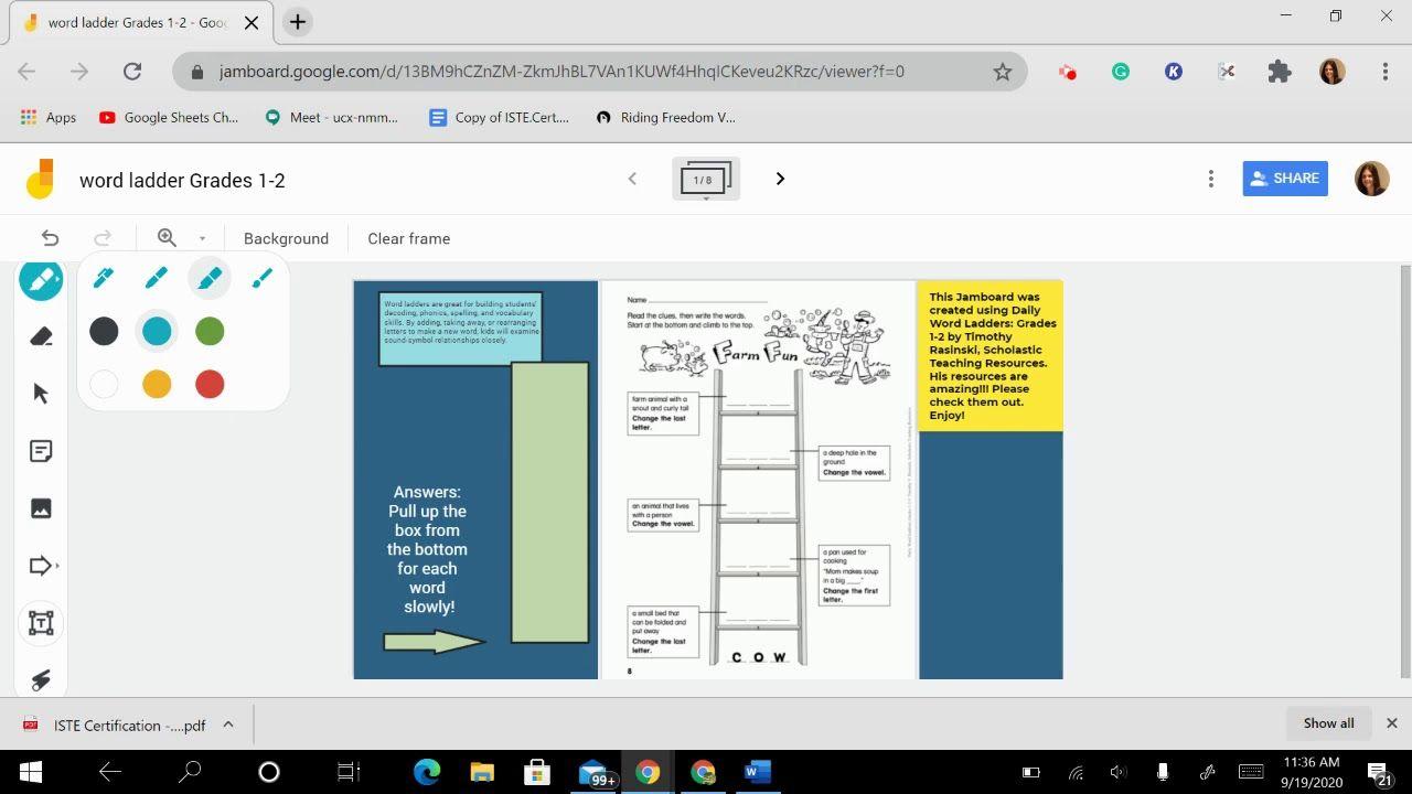 Word Ladders Jamboard (link below)   Word ladders [ 720 x 1280 Pixel ]