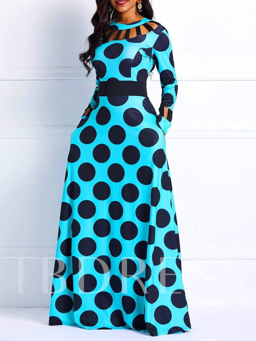 Belle Femme Robe Dresse à Pois Vérifier Manche Longue Couture Maxi Party Plus