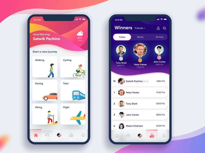 Social App Dashboard Iphone app design, Android app