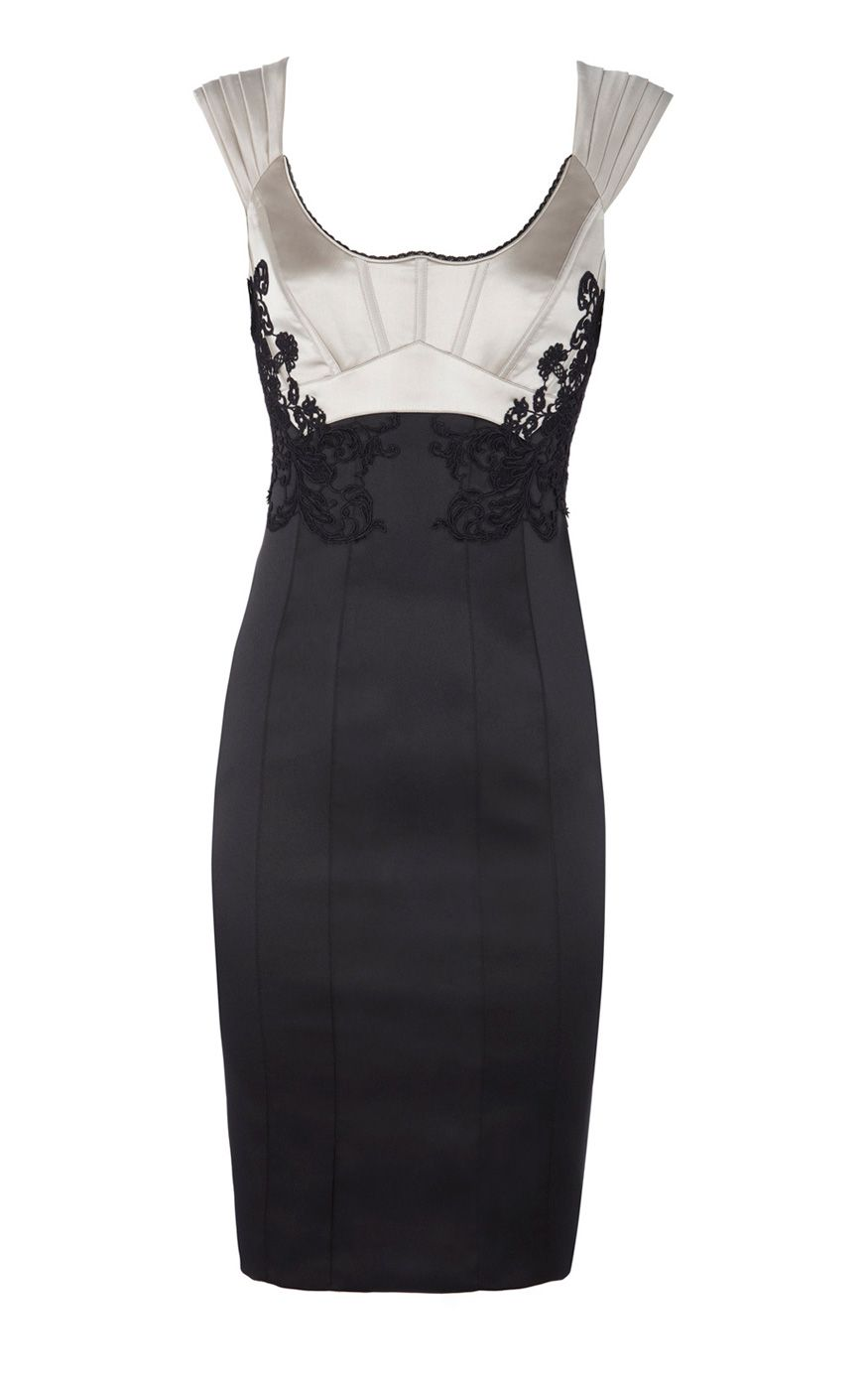 Karen Millen Silk Embroidered Pencil Dress Black and White ,fashion Karen Millen Solid Color Dresses outlet