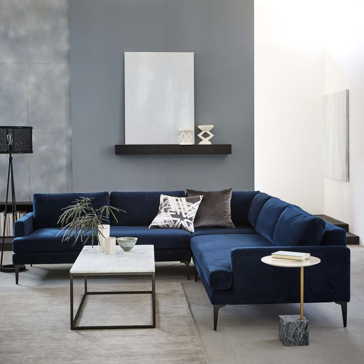 Andes L Shaped Sectional Ink Blue Blue Living Room