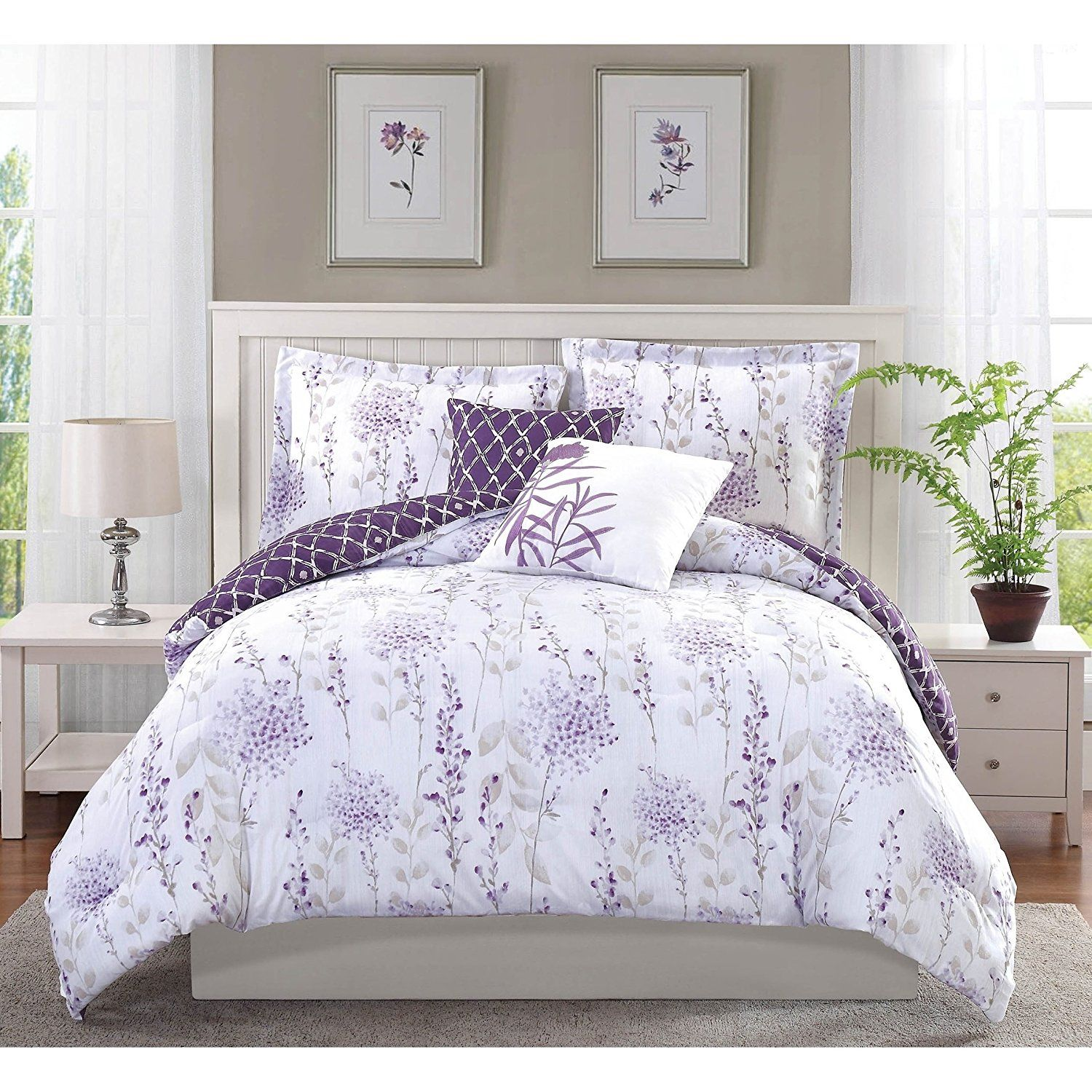 5 piece girls purple white lavender floral theme comforter full queen set beautiful. Black Bedroom Furniture Sets. Home Design Ideas