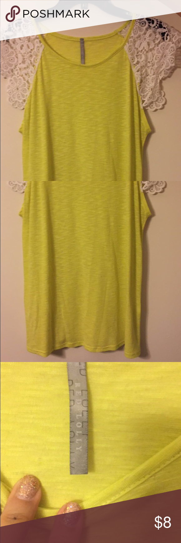 Yellow white laced shoulder top Yellow white laced shoulder top in good condition. This is a flowy top sort of stretchy too. Size: L. Store: Online Boutique - Dottie Couture. No trade, cash only! Negotiable! dottie couture Tops