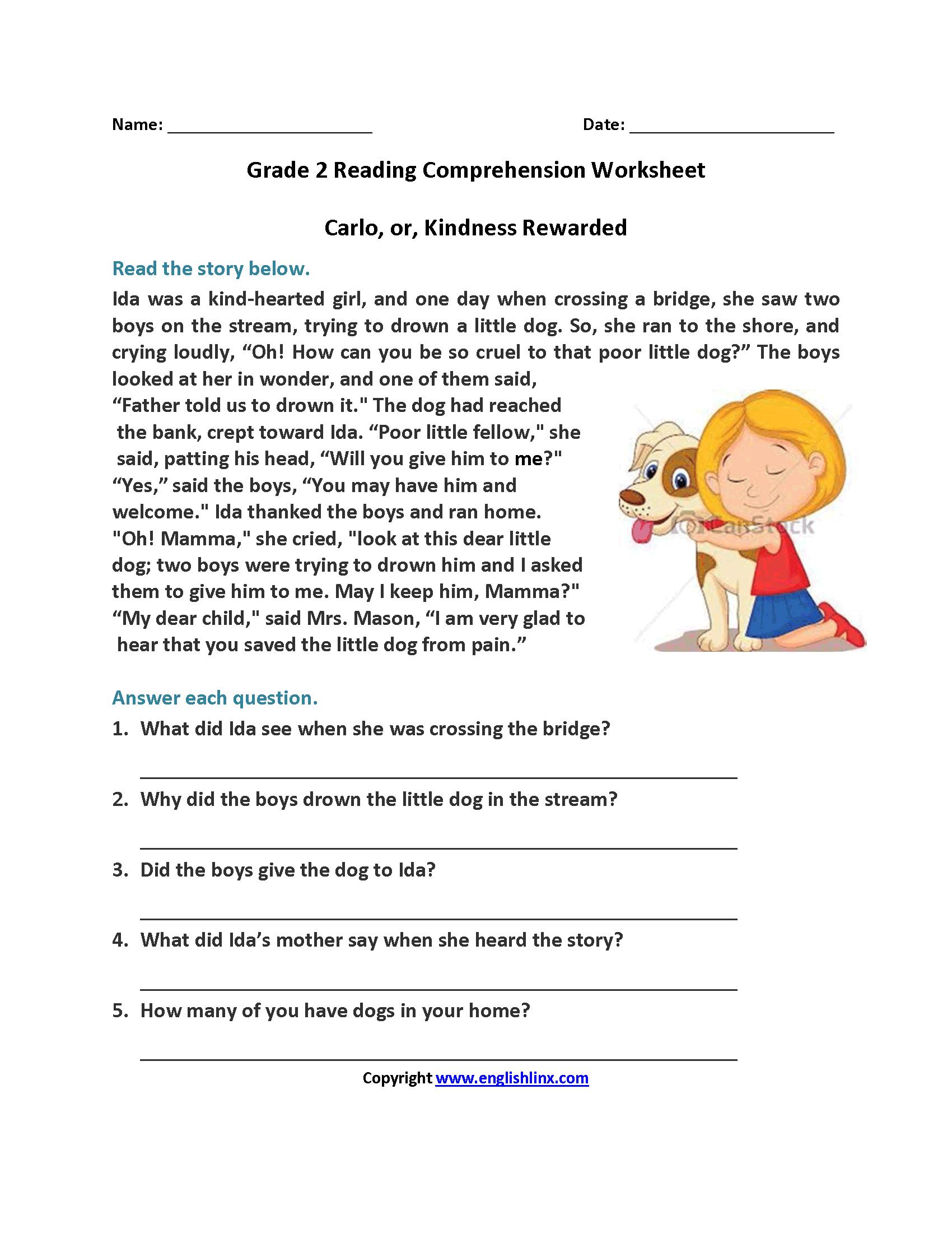 Carlo or Kindness Rewarded Second Grade Reading Worksh…   2nd grade reading  worksheets [ 2200 x 1700 Pixel ]