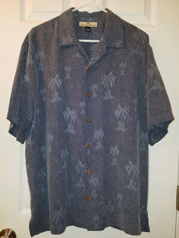 Tommy Bahama Casual Embroidered Palm Trees 100% Silk Hawaiian Shirt Pocket Mens #TommyBahama #Hawaiian