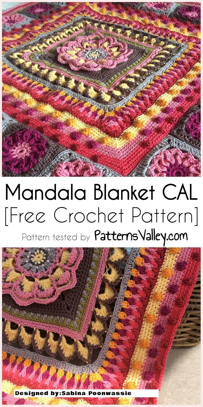 Mandala Blanket CAL [Free Crochet Pattern] #crochet #mandalas #freecrochetpattern #crafts #homedecorideas #crochetmandalapattern - USA PIN BLOG
