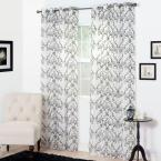 Lavish Home Semi-Opaque Valencia Charcoal (Grey) Polyester Curtain Panel 54 in. W x 95 in. L