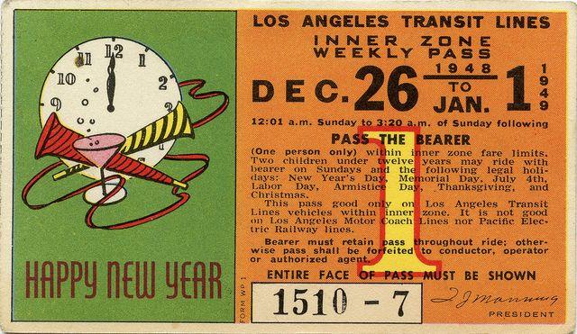 "LA Transit Pass: ""Happy New Year"", 1948-49   Flickr - Photo Sharing!"