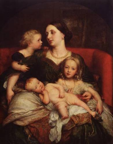 Mrs George Augustus Frederick Cavendish Bentinck and her Children - George Frederick Watts  1860