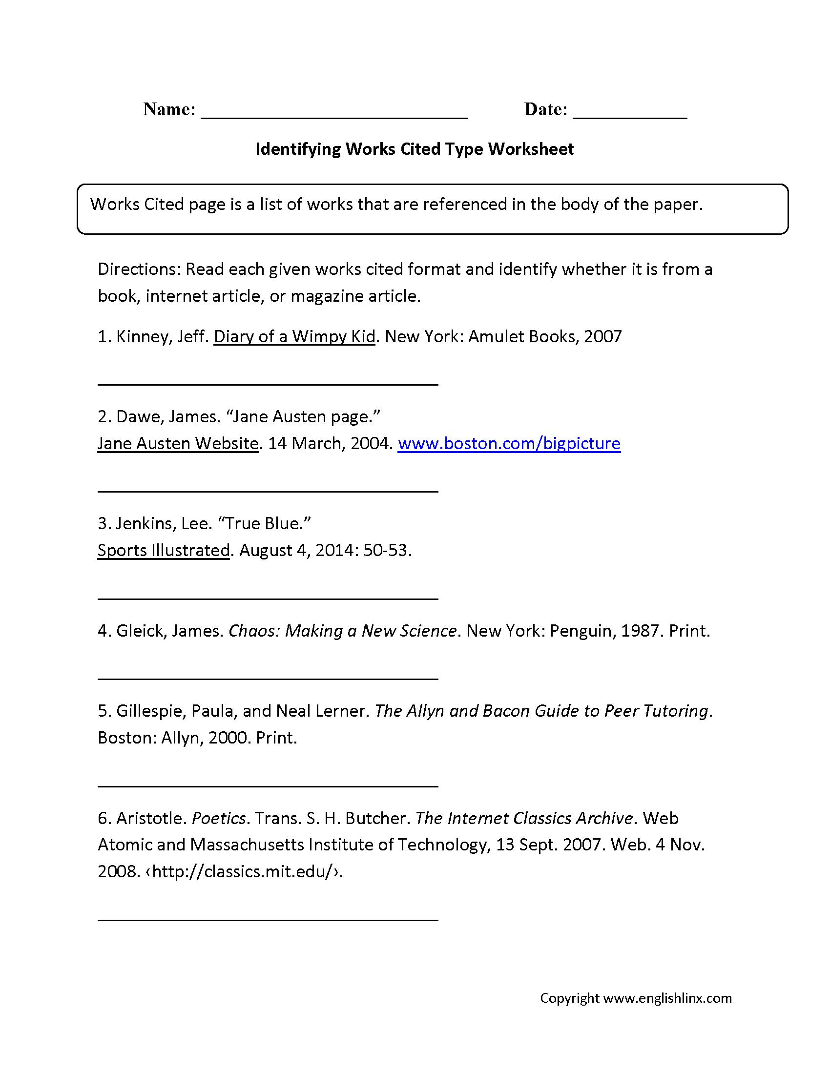 Identifying Works Cited Worksheets