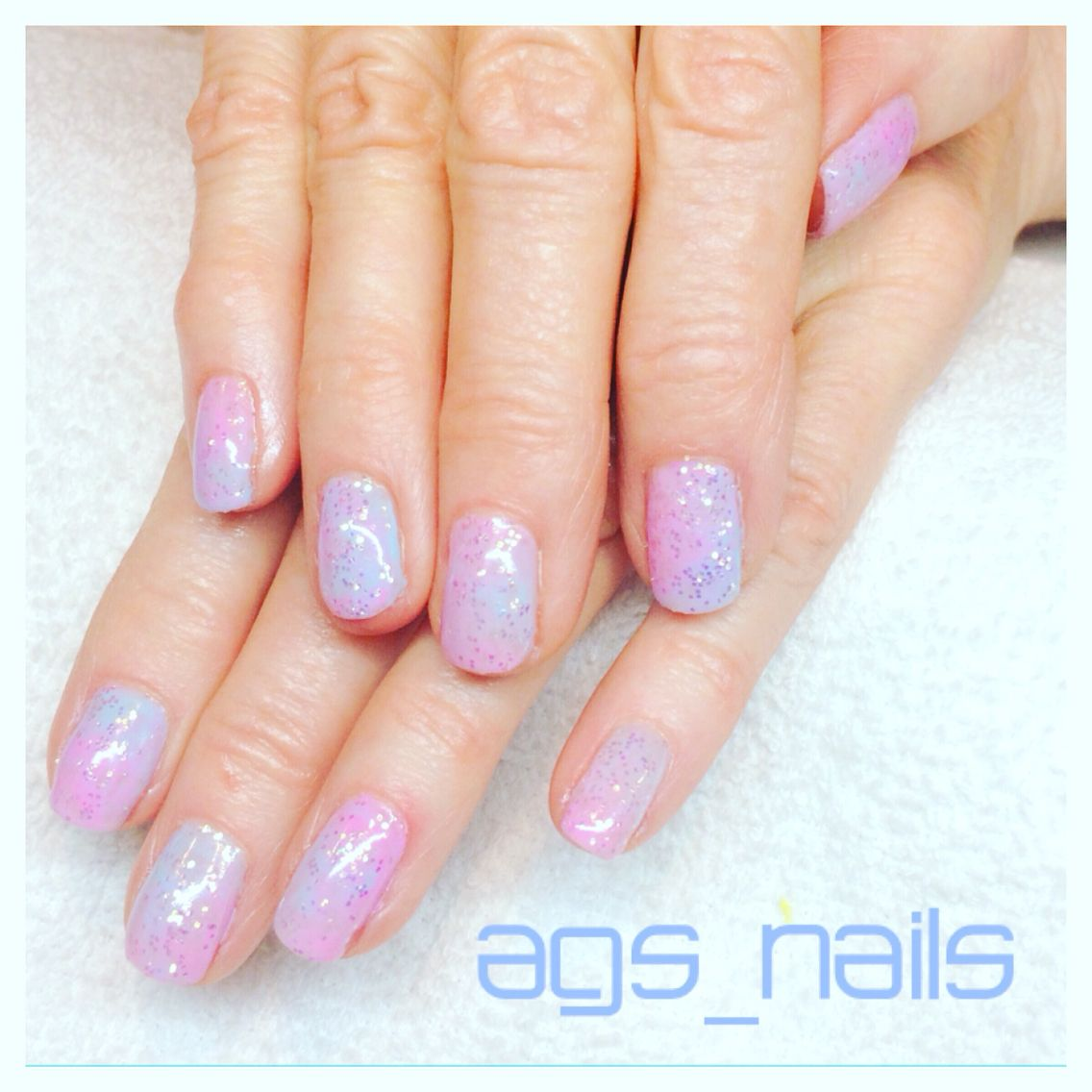Pink blue marble gel nails | ags_nails | Pinterest