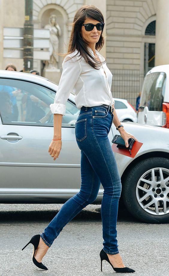 6b81852135626 10 Produções certeiras para usar com jeans de cintura alta. Camisa branca