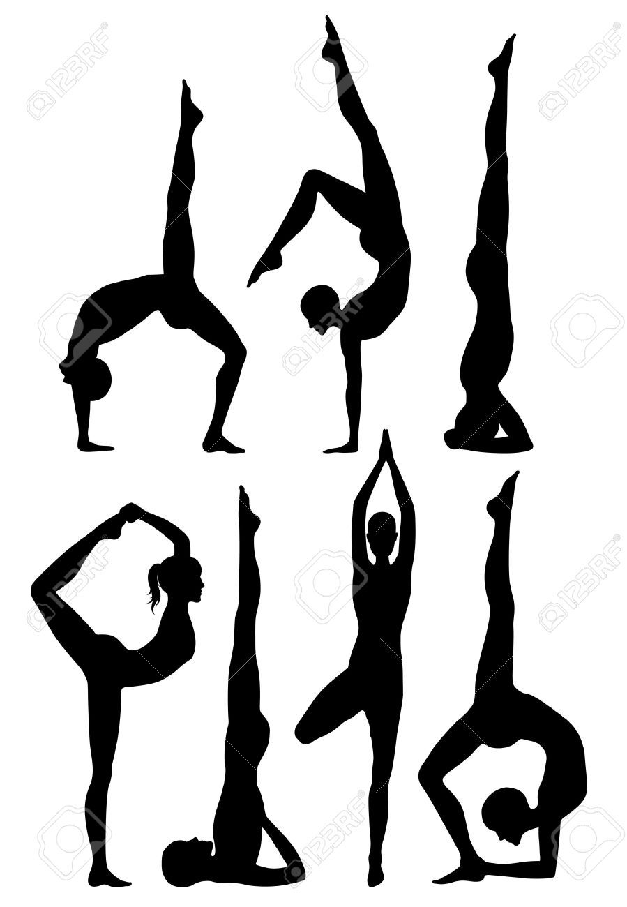 Yoga Poses Silhouettes Yoga Drawing Yoga Illustration Yoga Painting