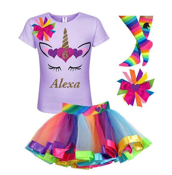 a3a0933a2 Unicorn Birthday Outfit Rainbow Tutu Gold Unicorn Horn Unicorn Socks Girls  Birthday Shirt Unicorn Birthday Shirt