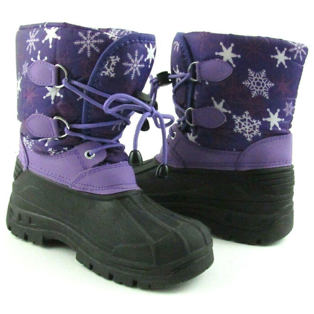Girls Purple Black Winter Snow Boots