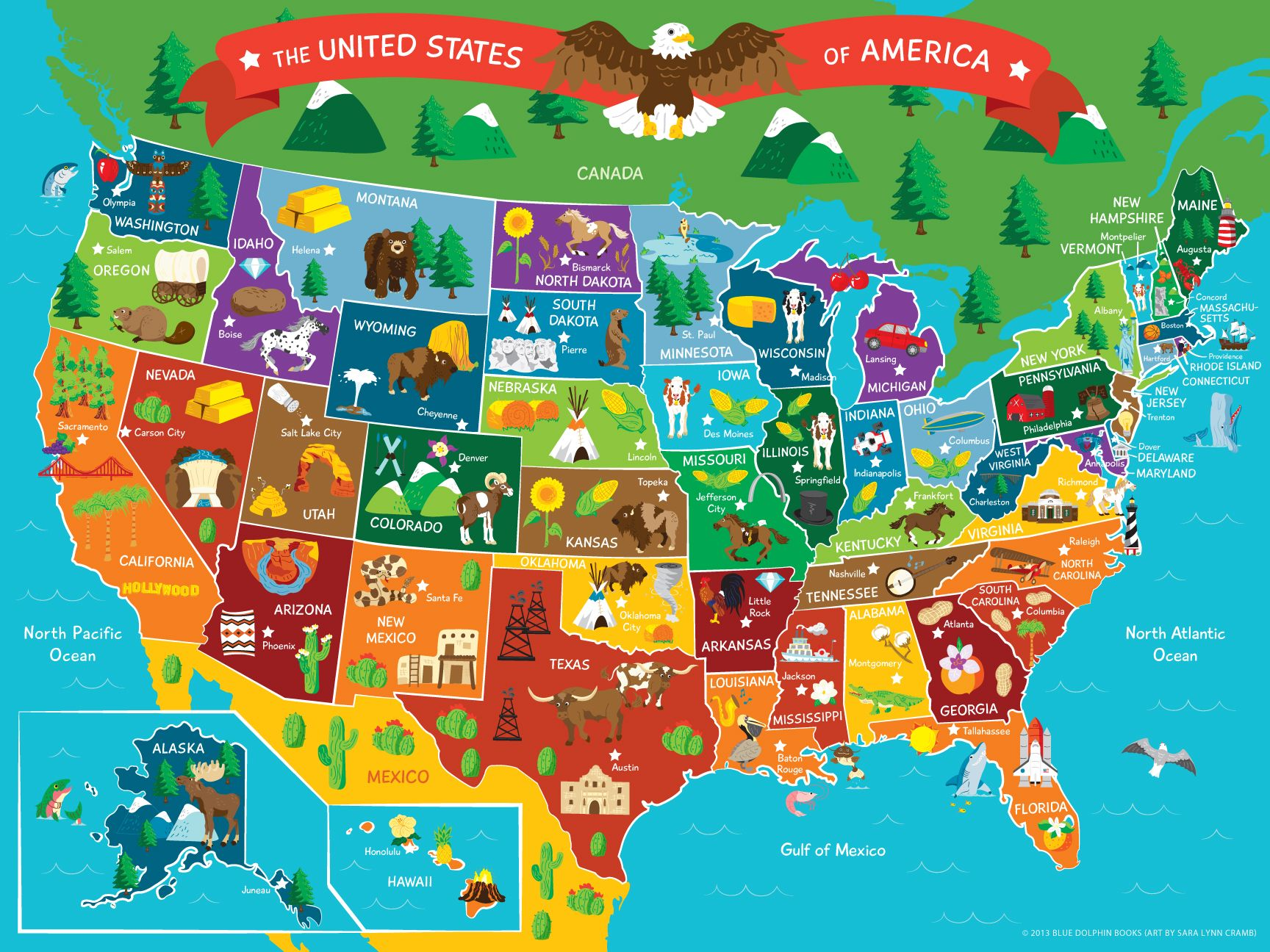 Map of the United States of America, Map, vector, monuments, United ...