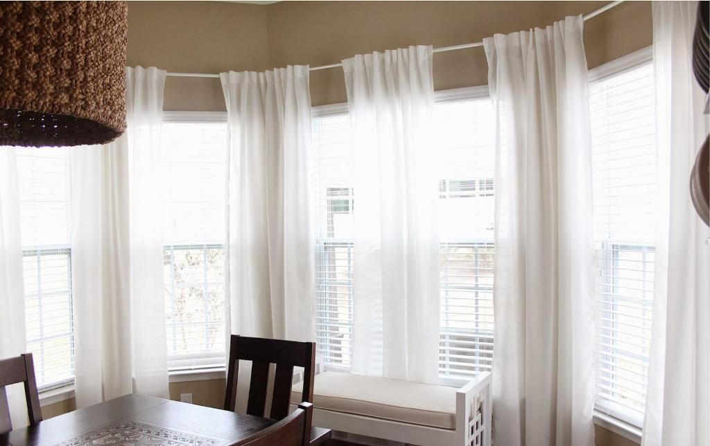 Furniture Fascinating Bay Window Curtain Rods Pottery Barn Also