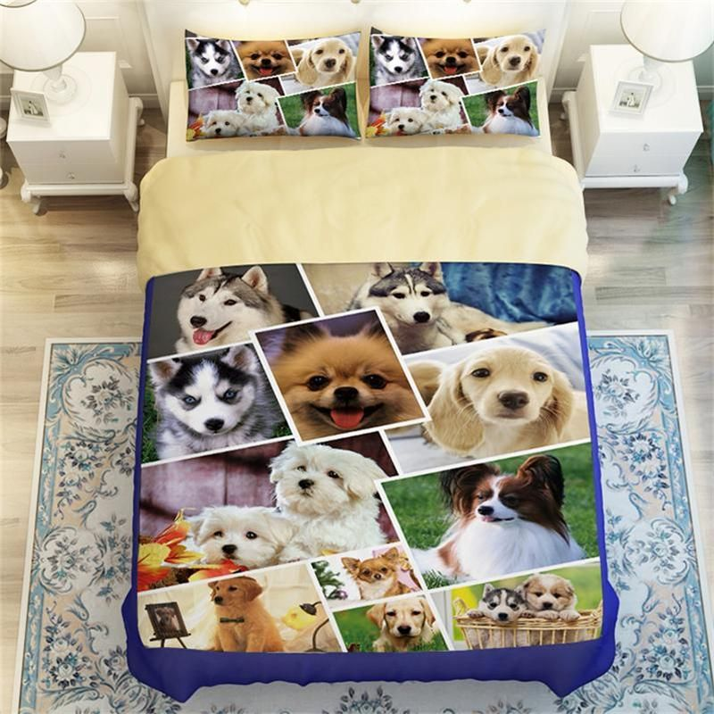 Huskies, Beagles, Pug Cute Dog Print Bedding Http://www.lovingpets