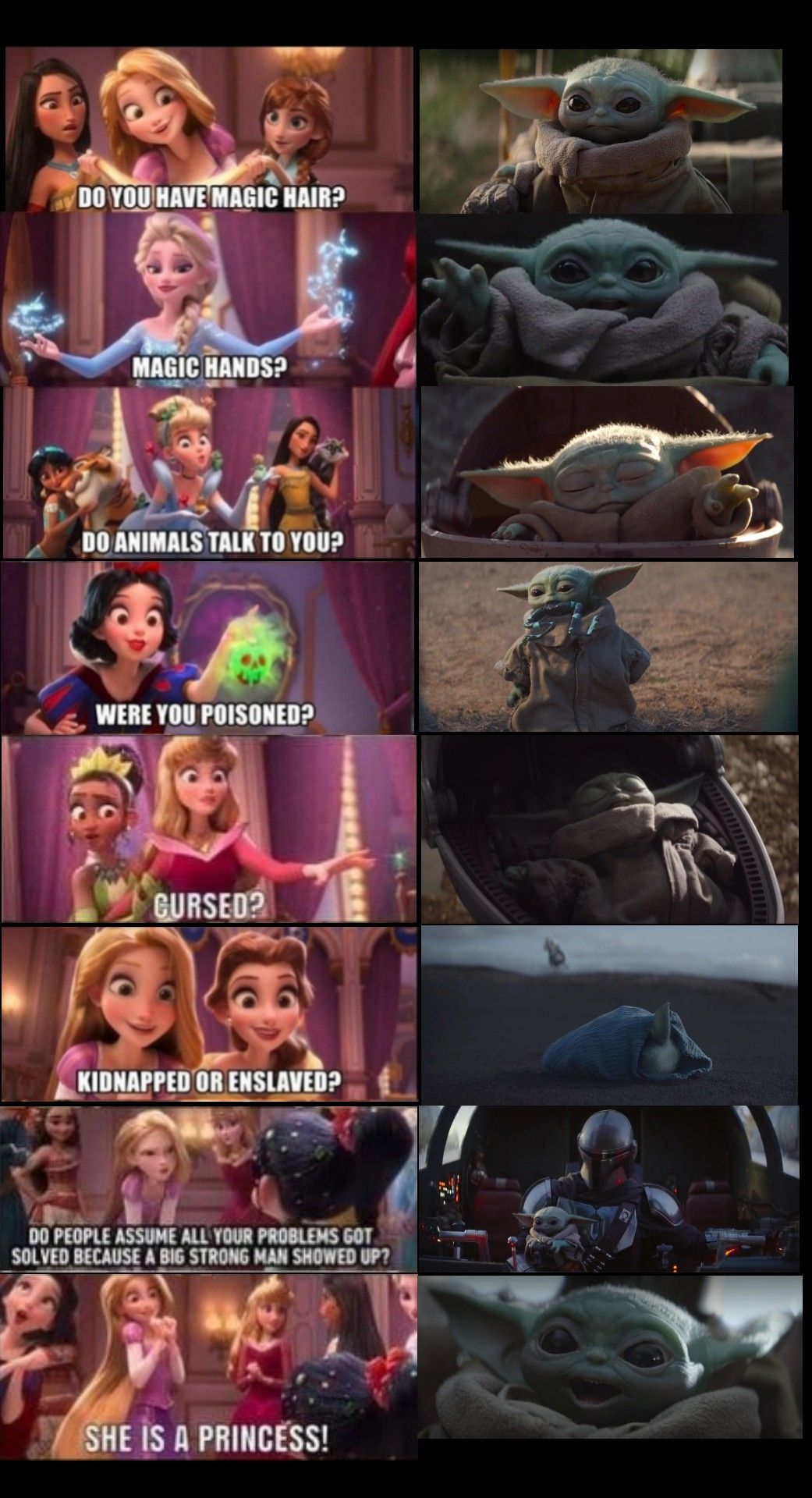 Baby Yoda Is A Disney Princess Lol Funny Star Wars Memes Yoda Funny Star Wars Jokes