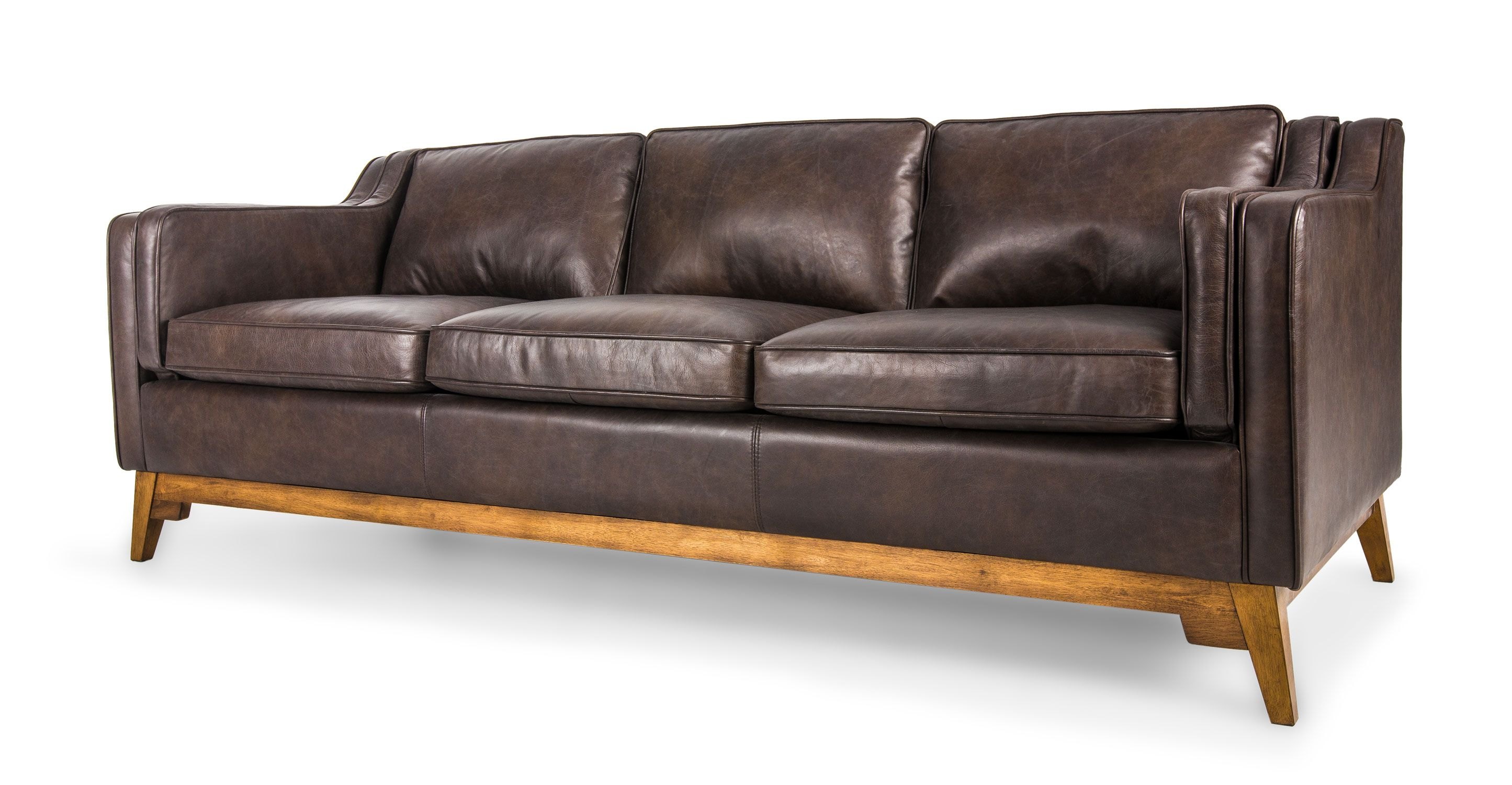 Brown Leather Sofa Upholstered