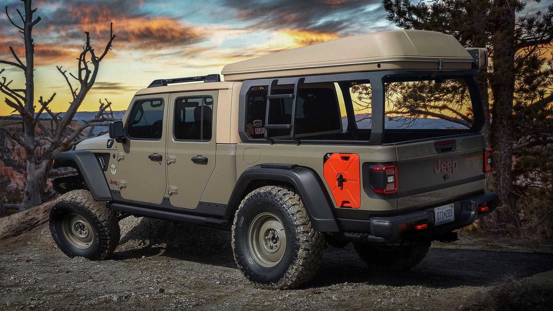 Jeep Gladiator Wayout Is A Camping Pickup Truck With A Tent Jeep
