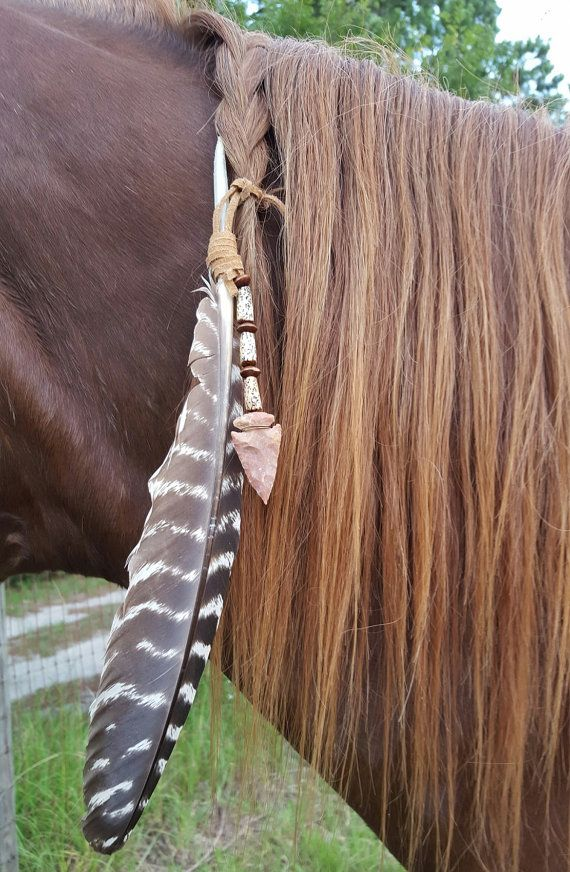Arrowhead and Feather Equine Mane Tail or Hair by MyBuddyBling