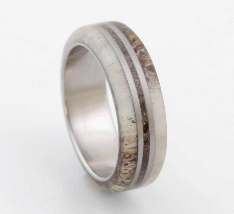 Antler Ring Titanium Ring With Dinosaur Bone Deer Antler Band Mens Wedding  Band Dino Ring Man