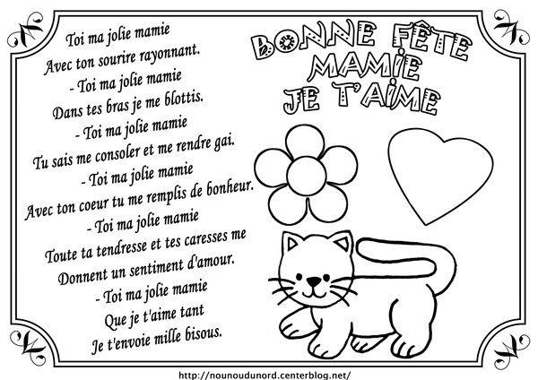 Coloriage Et Poème Bonne Fête Mamie Card Mothers Day Coloring