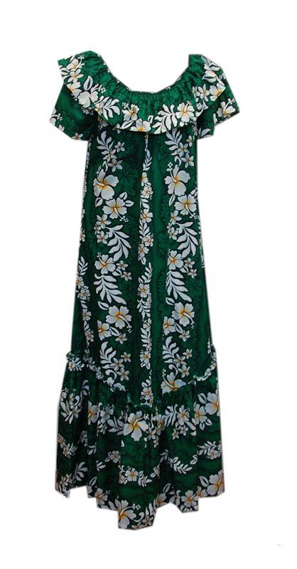 56cc0204111 Double-Ruffle Cotton Hibiscus Green Hawaiian MuuMuu | Disney Getaway ...