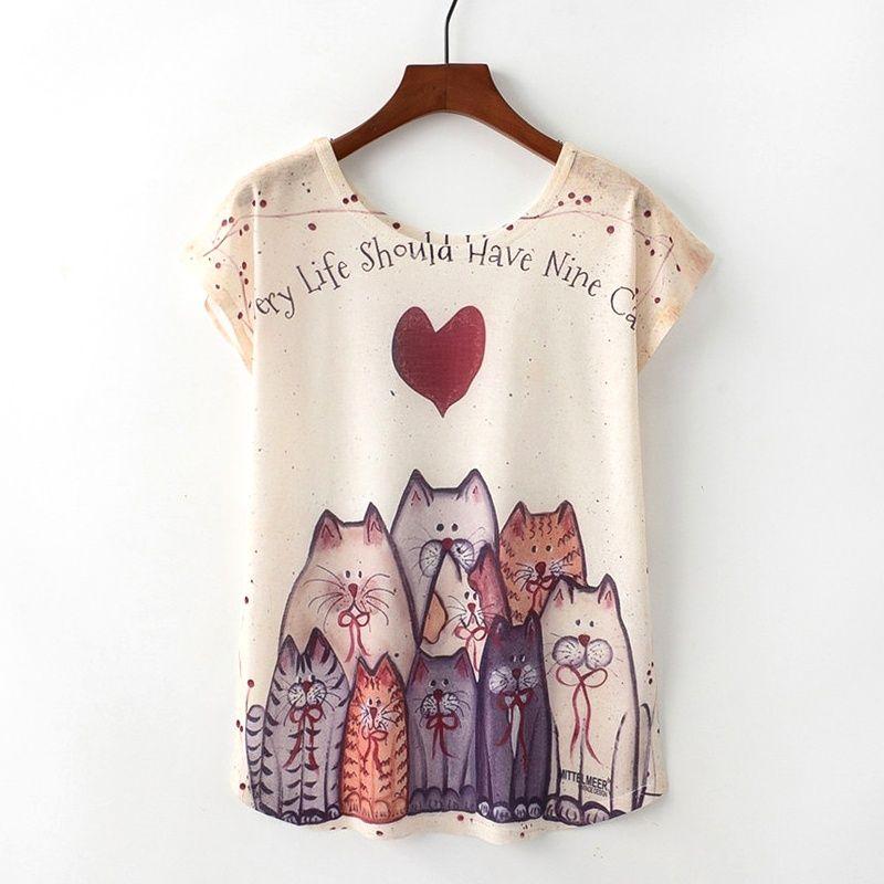 KaiTingu Verano Novedad Mujeres Camiseta Harajuku Estilo Kawaii Lindo Niza  gato Camiseta de la Impresión Nueva Manga Corta Tops Tamaño Ml XL 1f25960ef5d